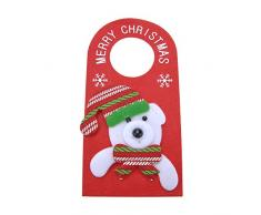 VANKER Navidad muñeco de nieve santa claus elk oso colgando pomo de la puerta percha decoración del hogar color oso
