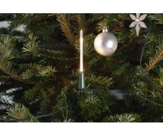 Konst Smide 1167-000 - Cadena de luces led para el árbol de Navidad (10 velas luminosas, 20 diodos de luz blanca cálida, transformador interno de 4,5 V, incluye interruptor)