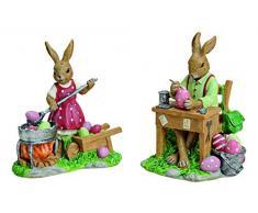MaRab Figura Decorativa de Conejo, Conejo con Huevos de Pascua, de polirresina, 2 Capas, Aprox. 12 x 12 x 6 cm. Ideal como Regalo y como decoración.
