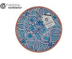 CERÁMICA RAMBLEÑA | Plato Decorativo para Colgar en Pared | Plato de cerámica | Azul | 100% Hecho a Mano | 27x27x4,5 cm