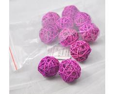 10 piezas Bolas de ratán mimbre mesa boda fiesta Navidad decoración 4cm Púrpura poco profundo