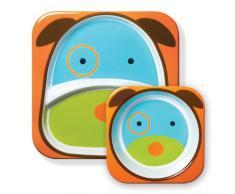 Skip Hop - Juego de cuenco y plato con compartimentos de melamina con diseño de perro