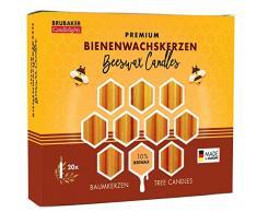 Brubaker – Paquete de 20 velas para el árbol de Navidad (10% cera de abejas velas de Navidad Pirámide velas velas Árbol de miel de amarillo
