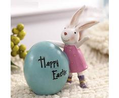 Micaza Estatua del Conejo, Conejo De Resina con Huevo Figuras Escultura Animal Hogar Ornamentos Decoración para Regalos del Día De Los Padres De Pascua De Navidad-c 10x6.3x11.5cm(4x2x5inch)