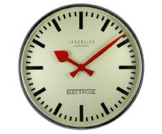 Roger Lascelles - Reloj de pared estilo retro, color cromo
