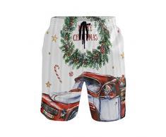 LISNIANY Bañador Hombre,Feliz Navidad Año Nuevo Navidad Santa On Car Festival y Dentro de Corona de Adviento,Natación Secado Rápido Malla Pantalones Imprimiendo Cortos(M)