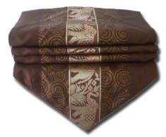 by soljo - marrón mesa de mantel de lino camino de mesa corredor seda tailandesa elefante Elegante 150 cm de largo x 30 cm