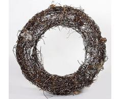 Corona de Navidad de ratán en color marrón con guirnalda led 10, 30 cm
