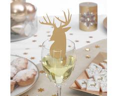 10 soportes para tarjetas o decoración para vasos para mesa de Navidad con forma de reno dorado