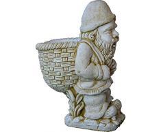 DEGARDEN Figura Decorativa Enano con Saco de hormigón-Piedra para jardín o Exterior 76cm.