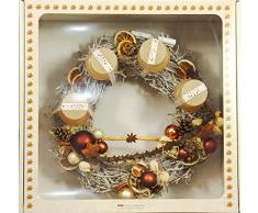 oppacher Advent 3000129 – 0000 – Corona de Adviento, corona de Navidad, piñas/ramas/Frutas/Velas, Caramel, diámetro de aprox. 40 cm, altura aprox. 18 cm