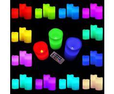 AMOS Velas de Cera Real con LED de Color Cambiante Vanilla Perfumadas Parpadeantes sin Llamas con Pilas Conjunto de 3 Luces Ambientes con Control Remoto y Temporizador