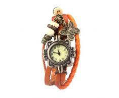 Gleader Reloj de Pusra Cuarzo Cuero Naranja Trenzado Mariposa Retro para Mujer Vintage