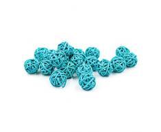 30pcs/pack Colorido bolas de ratán de mimbre Natural para Boda Fiesta de Navidad, decoración colgante 2 cm