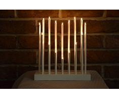Candelabro Navidad Árbol de luz blanco LED de Adviento candelabro Interior Árbol de luz, 26 cm - 16 LEDs