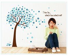 Rainbow Fox cereza colorido del árbol del flor del árbol de flores de color azul Mundial pared de la pared pegatinas pegatinas etiqueta de la pared (AY9026P)
