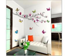 Walplus - Pegatinas de pared, diseño de mariposas y magnolia en 3D