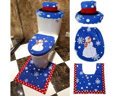 Longra♥♥Inicio Fiesta Papá Noel Navidad Vino Tinto Cubiertas Cubiertas Decoración (azul)