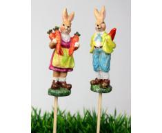 Pareja de conejos de Pascua par de conejo de Pascua conejo de Pascua canasta de Pascua decoración connettore resistente a la intemperie 8 cm Conjunto de 2
