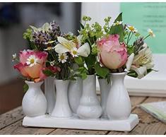 Home&Dekorations -VAS057- Florero de cerámica – Jarrón Decorativo para Bodas, Regalo, Buffet, Cocina, salón (Set de 7 jarrones Blancos).