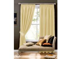 Cortina de seda sintética - Plain plisadas Cortinas con anillas y forro crema 66 x 228,6 cm