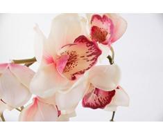 Rama de orquídea Cymbidium artificial, aspecto natural, crema-rosa, 80 cm - Ramificación decorativa / Tallo sintético - artplants