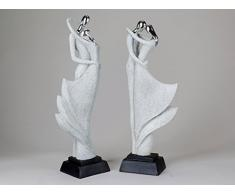 De estilo moderno de la escultura figura decorativa de cerámica con diseño de Stone de plata de altura de 45 cm