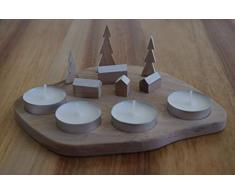 Bijoux Yali candelabro (Madera de Adviento - 4 Velas hervidor de Plana - Village Nevado - Escenario Navidad - Hecho a Mano Hecha a Mano