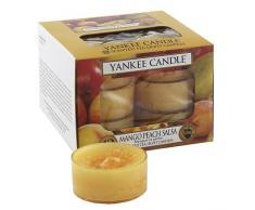 Yankee Candle 1114684E - Mango y Melocotón Velas de Té Aromáticas Paquete de 12 unidades color Orange
