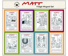Matt by Matt Pritchard ECP Design Juego de 8 imanes para el frigorífico (vinilo), diseño de viñetas cómicas, multicolor