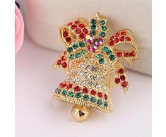 Ruikey Las mujeres broche de pernos de los Rhinestones Christmas Bell bufandas Collar Clip Ramillete de decoración de Navidad