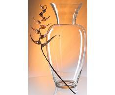 Gigante Jarron de suelo de cristal transparente, gran florero de vidrio claro soplado a boca , grandes jarron de suelo, vaso de tierra el florero para flores talludas, de modo decorativo, la gran apertura aprox. 23 cm, altura aproximadamente