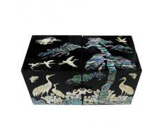 Cofre Cúbico Doble de Madreperla Diseño de Grullas y Pino para Joyería Bisutería Caja de Madera Organizador Lacrada