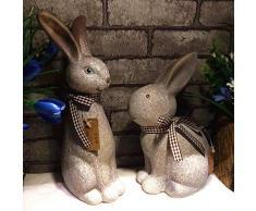 Zyh-hyz Conejo Estatua Estatuilla, Jardín Modelo de Conejo Lindo Conejo decoración del jardín Simulación Animal de Resina Artesanal Pascua