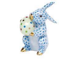 Herend conejo de Pascua figura decorativa azul Fishnet