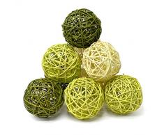 Surtido de bolas de ratán verde 10 cm – 9 piezas para manualidades (Pack de 3)