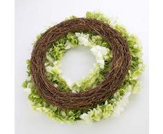 Corona de hortensias artificiales sobre mimbre, crema-verde, Ø 60 cm - Guirnalda decorativa / Composición floral - artplants