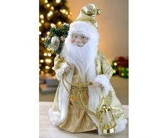 WeRChristmas - Figura decorativa para árbol de Navidad (30 cm), diseño de Papá Noel, color crema y dorado