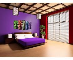 DekoArte - Cuadro moderno en lienzo Buda colores 150x80cm