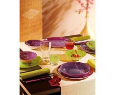 Luminarc 9299724 Kashima Green - Juego de platos de postre (20 cm, 6 unidades), diseño con flores, color verde y morado