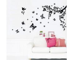 Walplus - Pegatinas decorativas para pared extraíbles, diseño de árbol y mariposas