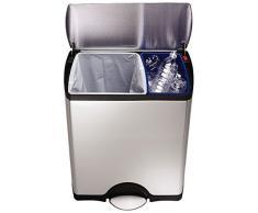 simplehuman, cubo de reciclaje rectangular, acero inoxidable cepillado, 46 L (30/16)