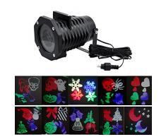 Gosear Impermeable IP65 LED Foco Luz Proyector de Imagen de 10 Colorido Patrones de la Decoración de Navidad de la Boda del Cumpleaños de Halloween