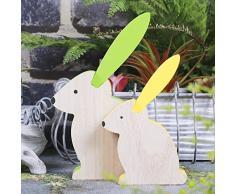 Valery Madelyn mide 20cm/14.8 cm Set de 2 Pascua suave conejito de pascua figura de conejo de pascua figura de madera decoración de jardín decoración deco figura marrón verde amarillo con pintura