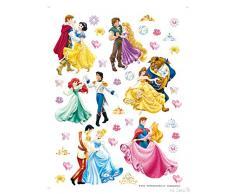 AG Design Pegatinas decorativas para la pared, tamaño grande, diseño de princesas y príncipes Disney