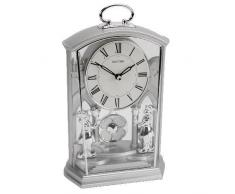 Rhythm Ornate People reloj de mesa con péndulo ultralento, bañado en plata