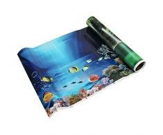 SODIAL(R) Fondo fresco del mar azul Poster de paisaje del oceano de acuario Fondo del tanque de pez