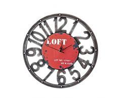 Gosear Reloj de Pared para Decoración de Hogar,País Primitivo Retro de Madera Estilo Americano Rojo