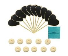makhry 10pcs boda fiesta Mini Heart-shape Pizarra con soporte para número de mesa etiqueta de precio tablero de mensajes Tarjeta de Lugar Favor Tag (Burly – Madera)