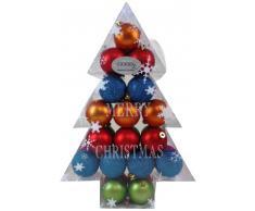Inge Glas 7762136 Mille Fiori - Caja con forma de abeto con 34 bolas de plástico para árbol de Navidad (6 cm)